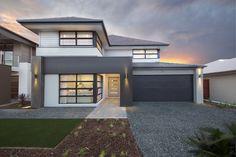 Clarendon Homes. Simple House Design, Modern House Design, Burbank Homes, Clarendon Homes, Facade House, House Facades, Exterior Color Schemes, Moise, Display Homes