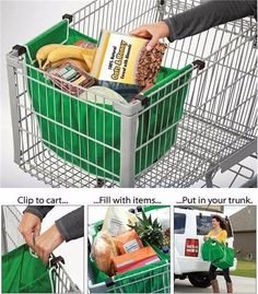 The Original authentic resuable grocery bag! Clips onto shopping cart Folds flat for easy storage Holds up to 40 lbs Grab Bag Do away with plastic shopping bags