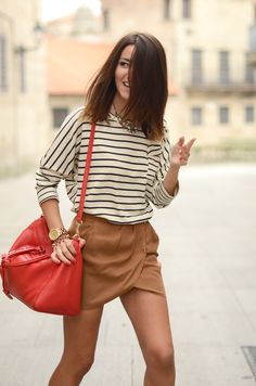 beige skirt + cream and navy stripes + red bag + red nails