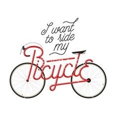 Abstract bicycle with quote vector typography - by ivanbaranov on VectorStock®