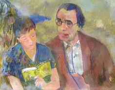 Bernáth, Aurél Lőrinc and Marili reading (Marili reads to Lőrinc Szabó), 1957 Paintings, Artists, Reading, Books, Libros, Paint, Painting Art, Book, Reading Books