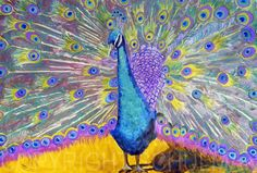 purple art  Peacock Painting Decor PRINT purple  by SchulmanArts  #Turquoise #Purple