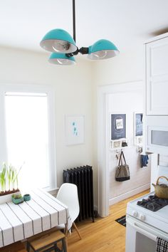 that light! (schoolhouse electric) / Deuce Cities Henhouse Kitchen Reveal - Black, White & Turquoise