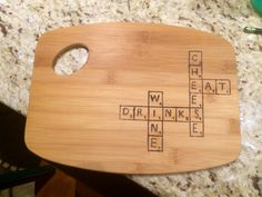 Wood burned cheese board