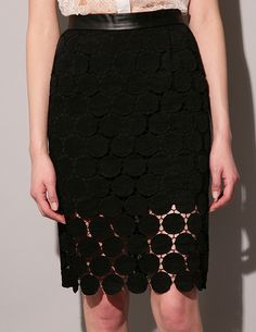 Dot lace pencil skirt