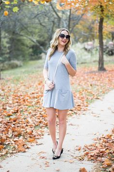 Fall perfection with adorable flats and a two pocket dress!