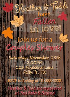 Printable Fall Bridal Shower Invitation (Digital File Only)