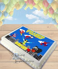 Superheroes in Action Clipart Edible Image Cake Topper [SHEET]