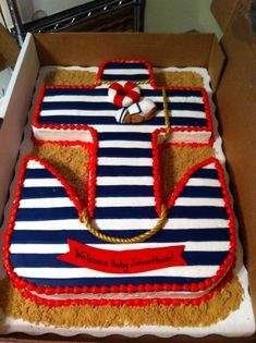 Anchor baby shower cake!! I love this cake for a boy!!