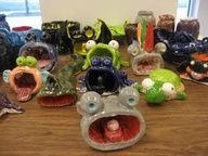 Actual student work of some of the Pinch Pot Creatures glazed. Clay Art Projects, Ceramics Projects, Clay Crafts, Projects For Kids, Crafts For Kids, Ceramics Ideas, Project Ideas, Art Lessons For Kids, Art For Kids