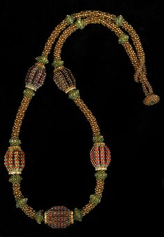 Fine Beaded Jewelry by Jacqueline Johnson - PORTFOLIO / Necklaces-Melon Ball necklace beads) Ball Necklace, Seed Bead Necklace, Seed Bead Jewelry, Bead Jewellery, Jewellery Shops, Jewelry Stores, Seed Beads, Beaded Brooch, Beaded Earrings