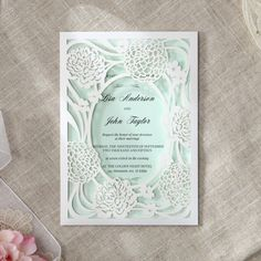 This striking floral pocket wedding invitation design makes for the perfect introduction to your garden wedding Pocket Invitation, Laser Cut Invitation, Wedding Invitation Samples, Laser Cut Wedding Invitations, Wedding Invitation Design, Invites, Pocket Cards, Wedding Themes, Laser Cutting