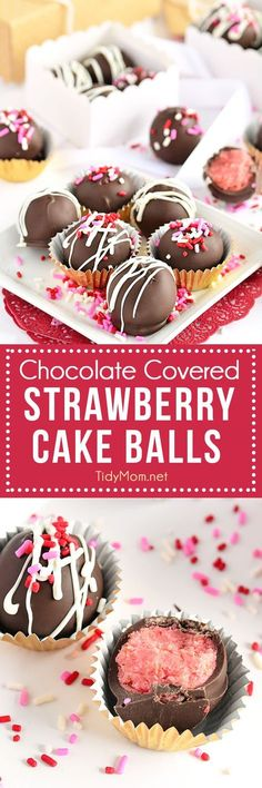 Chocolate Covered Strawberry Cake Balls recipe at TidyMom.net perfect for Valentines Day gift or any occasion.