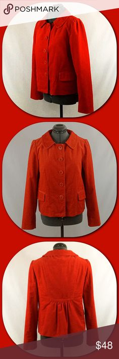 """J. Crew 💕Red Corduroy Blazer💕 J. Crew 💕Red Corduroy Blazer. Great classy look with big red button front closure. Gathering at the sleeve shoulder and back gives this a unique fun style. Two pockets with flaps that can be tucked in or out for a different look. Fully lined. Fabric - 99% Cotton and 1% Spandex. Bust - 19"""" lying flat armpit to armpit. Length - 21"""" shoulder to hem. Size 6. Excellent Condition.💕 J. Crew Jackets & Coats Blazers"""