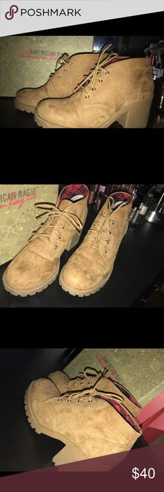 American Rag brown booties Areaghan wheat American rag booties. They have only been used once and they still come with the box. American Rag Shoes Ankle Boots & Booties