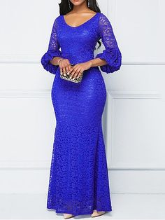 Long Sleeve Ankle-Length Mesh Bodycon Lantern Sleeve Dresses Spaghetti Straps Long Simple Prom Dress with Split Party Dress African Lace Styles, African Lace Dresses, African Fashion Dresses, Lace Party Dresses, Prom Dresses, Royal Blue Lace Dress, Lace Dress Styles, Lace Dress With Sleeves, Sleeve Dresses