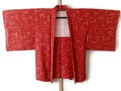 Vintage Silk Scarlet Red Kimono Jacket with Stylized Peony