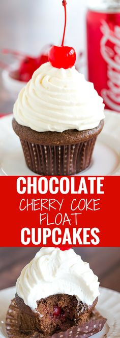 Cherry Coke Float Cupcakes - Chocolate cupcakes made with Coca-Cola, filled with cherries, topped with a Coca-Cola glaze, a whipped cream frosting and cherry on top!