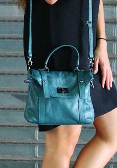 Mini Cross Body bag green real leather