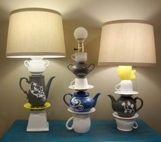 5 Ways to Give Old Things New Life http://doodlecraft.blogspot.com/2013/04/whimsical-mad-hatter-teapot-lamps.html