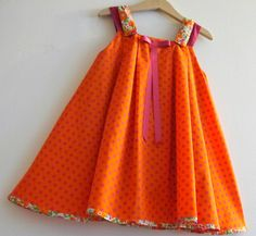 Sun Dress in Vibrant Orange Frocks For Girls, Kids Frocks, Little Girl Dresses, Girls Dresses, Sewing Kids Clothes, Diy Clothes, Pillowcase Dress Pattern, African Dresses For Kids, Baby Frocks Designs