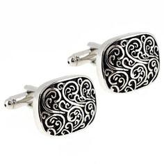 Black and Silver Engraved Vine Design Cufflinks - List price: $20.95 Price: $9.02 Saving: $11.93 (57%)