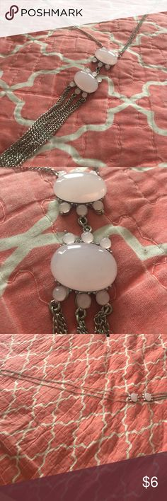 Worn once! Long pink statement necklace! Worn once! Light pink jeweled accents and strings. Long in length and hangs down low. In excellent condition. Paid $35 new for it. Closing posh closet so make an offer and it's yours. Jewelry Necklaces