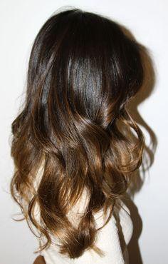 Ombre Hair reflejos castaño claro por debajo