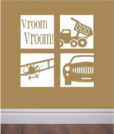Vinyl wall decals - set of four transportation squares- great for kids' room or play room