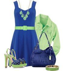 Azul rey con verde limon, perfecta combinacion para el verano.