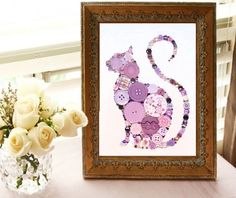 CAT CURLY TAIL 4 Color Choices 5x7 Button Art Button