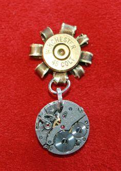 Bullet and Gears Steampunk Pin / Brooch. $24.00, via Etsy.