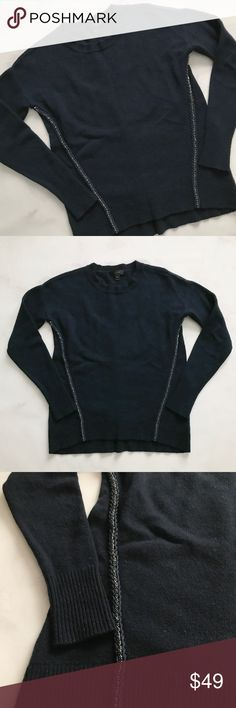 J. Crew Wool Metallic Braid Sweater Stunning wool sweater from J. Crew with braided rhinestone details down the sides. Navy. XXS. Great pre-loved condition. J. Crew Sweaters Crew & Scoop Necks