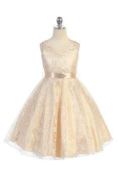 Champagne Lace Floral Pattern Flower Girl Dress with Removable Satin Sash A3511-CM $47.95 on www.GirlsDressLine.Com