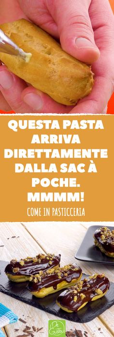 #Éclair #pasta #pasticcino #glassa #crema #bignè #cioccolata #nocciole #pastarella #ricetta #ricette #sacàpoche #francia #gourmet #miele Mexican Pastries, Sweet Pastries, Bread And Pastries, Sweet Recipes, Vegan Recipes, Cooking Recipes, Peruvian Desserts, Chocolate Chip Brownies, Baking And Pastry