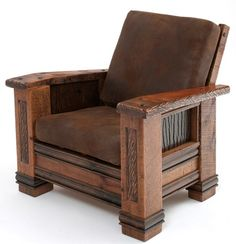 Upholstered Barnwood Chair - Item # LR06145 - Matching Ottoman Available (Not Pictured) - 4 Leather Options