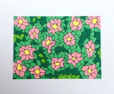 Pink Cherry Blossom mosaic flowers ACEO art card design - Original pen and ink Artist Trading Card - Collectable miniature Art Card