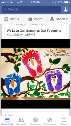 OWLS from footprints! Great kids craft :-)