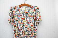 vintage 70s Colorful Sailboats Nautical Dress by littleveggievintage, $34.00