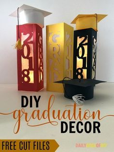 Graduation Decorations 95993 DIY Graduation Party Decor- Make paper lanterns and graduations caps with these free cut files College Graduation Parties, Graduation Diy, Graduation Celebration, Grad Parties, Ideas For Graduation Party, Graduation Quotes, Graduation Party Centerpieces, Graduation Decorations, Centerpiece Decorations
