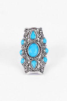 Silver Sarai Ring in Turquoise $11 at www.tobi.com Gorgeous