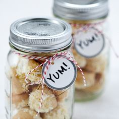 Party Favors: vanilla angel cake with citrus buttercream frosting Angel Cake, Angel Food Cake, Mason Jar Cookies, Mason Jars, Online Wedding Registry, Twine Crafts, Edible Favors, Gift Wraping, Cookie Favors