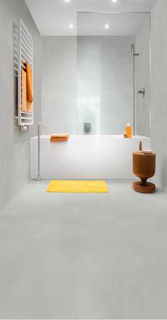 Quick Step Suelos De Vinilo Ambient Click Minimal Gris Claro Amcl40139 En Un Cuarto Baño Moderno Haga Clic Aquí Para Descubrir Su Suelo Favorito
