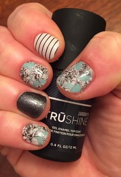 Serene, tungsten sparkle and country club jamberry nail wraps! All done with just a hair dryer.