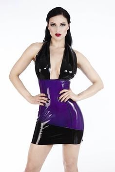 This smoky black transparent latex halter dress sparks the imagination with a sultry contrasted opaque cowl neckline as well as a matching band at the front hem. The view from the back is daringly transparent, making an impression whether coming or going in this couture. Availability:: Usually Ships in 4 to 6 Weeks Product Code: SKU005
