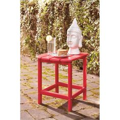 Signature Design by Ashley presents the Sundown Treasure Rectangular End Table. Available now in a Red Finish, to breathe new life into your home or office. Outdoor End Tables, Patio Table, Outdoor Chairs, Outdoor Furniture, Signature Design, Round Corner, Home Furnishings, Plastic Material, Red