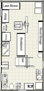 Woodworking shop floor plans view the photo gallery for One car garage woodshop