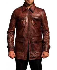 Material : Sheepskin real leather  Color : distressed brown Front : zip closure Pocket : 2 pocketz on chest and 2 on waist Sleeves : Round sleeves Collar : shirt collar