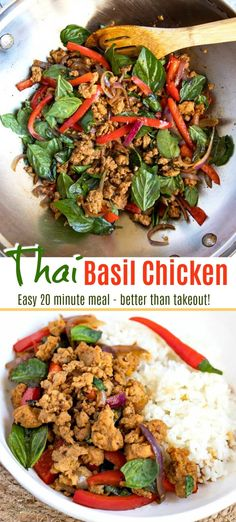 This quick and easy Thai Basil Chicken recipe is budget friendly light and full of flavor Ground chicken veggies and basil are stir fried in the tastiest thick savory sauce stirfry easy healthy ground lowcarb Thaifood Chicken Basil Recipes, Thai Basil Recipes, Thai Basil Chicken, Healthy Chicken Recipes, Easy Healthy Recipes, Asian Recipes, Ground Chicken Recipes Easy, Thai Basil Ground Chicken Recipe, Thai Chicken Stir Fry