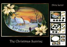 The Christmas Sunrise by Anne Lever This lovely mini kit makes an A5 topper with extra frame decoupage nine greetings two blank greetings tiles four gift tag toppers and a matching insert. It features a beautiful watercolour of a christmas sunrise and is embellished with gorgeous poinsettias.